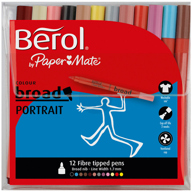 Berol Colourbroad Fibre Tip Pen - Assorted Portrait Colours (Wallet of 12)