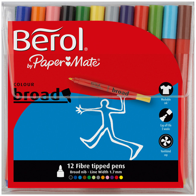 Berol Colourbroad Fibre Tip Pen - Assorted Standard Colours (Wallet of 12)