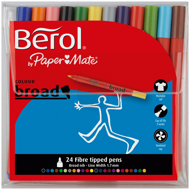 Berol Colourbroad Fibre Tip Pen - Assorted Standard Colours (Wallet of 24)