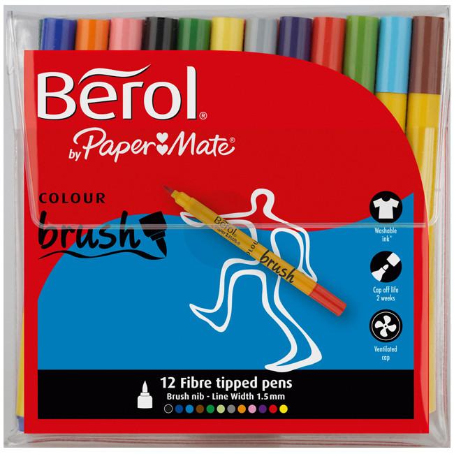Berol Colourbrush Fibre Tip Pen - Assorted Colours (Wallet of 12)
