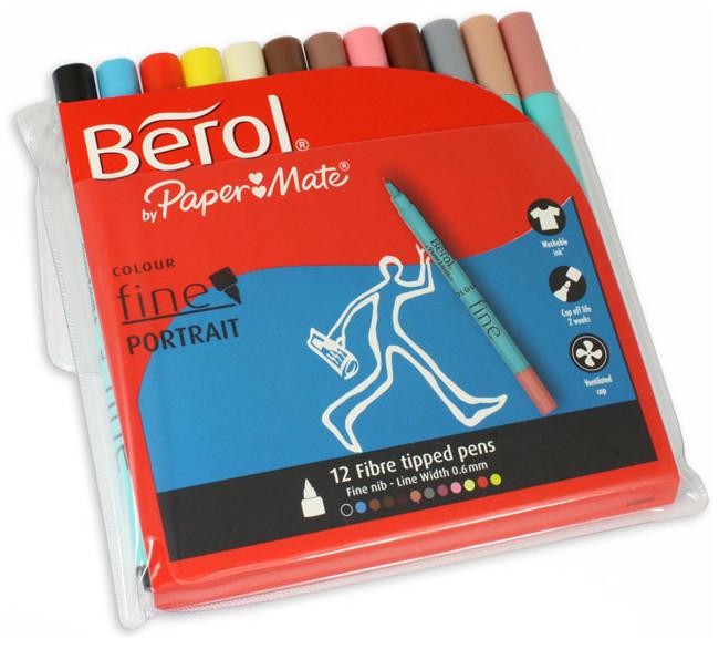Berol Colourfine Fibre Tip Pen - Assorted Portrait Colours (Wallet of 12)