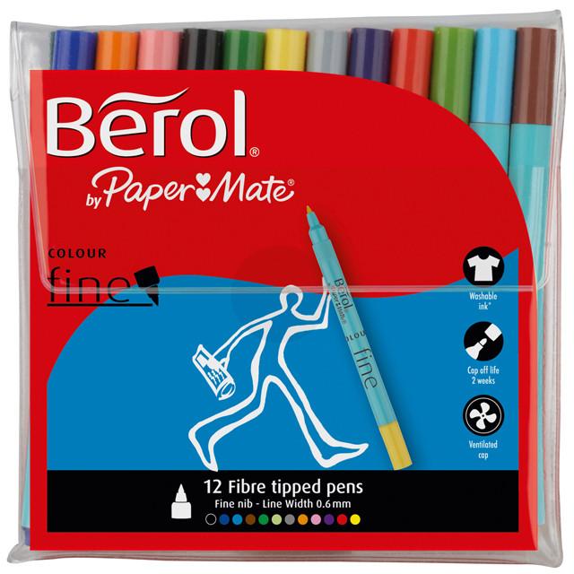 Berol Colourfine Fibre Tip Pen - Assorted Standard Colours (Wallet of 12)