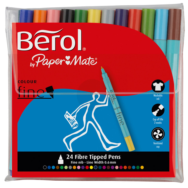 Berol Colourfine Fibre Tip Pen - Assorted Standard Colours (Wallet of 24)