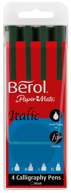 Berol Italic Calligraphy Pen - Black - Assorted Widths (Wallet of 4)