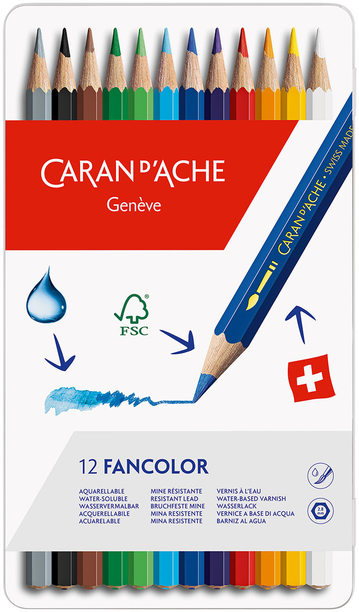 Caran d'Ache Fancolor Colouring Pencils - Assorted Colours (Tin of 12)