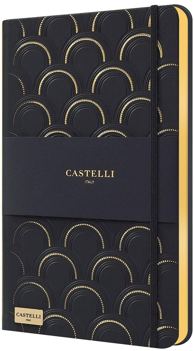 Castelli Hardback Medium Notebook - Ruled - Art Deco Black & Gold