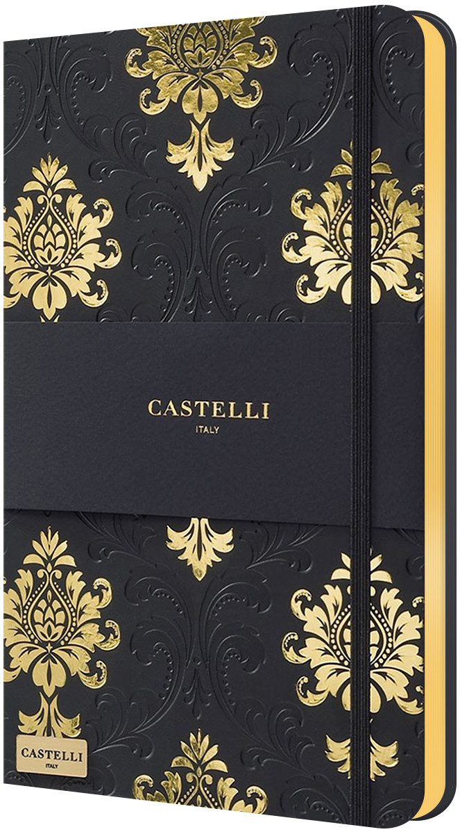Castelli Hardback Medium Notebook - Ruled - Baroque Black & Gold