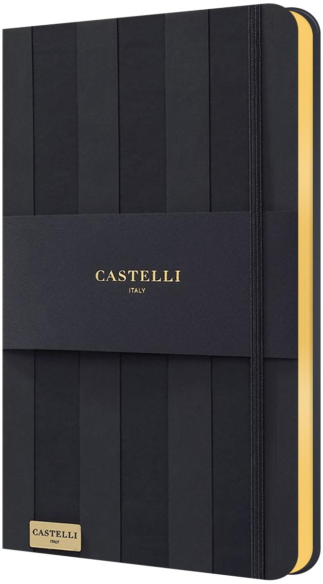 Castelli Hardback Medium Notebook - Ruled - Stripes Black