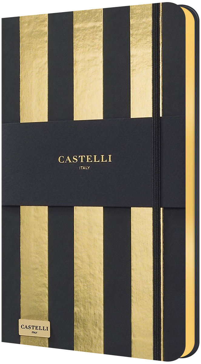 Castelli Hardback Medium Notebook - Ruled - Stripes Gold
