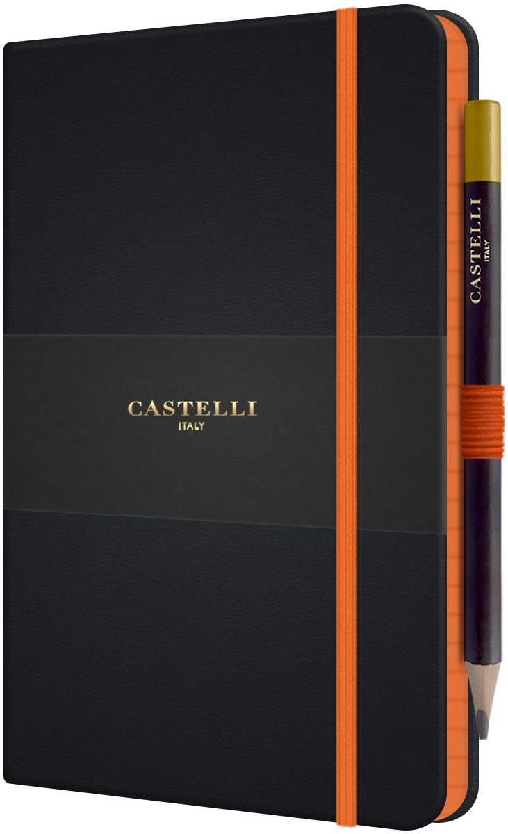 Castelli Tucson Edge Hardback Medium Notebook - Ruled - Orange