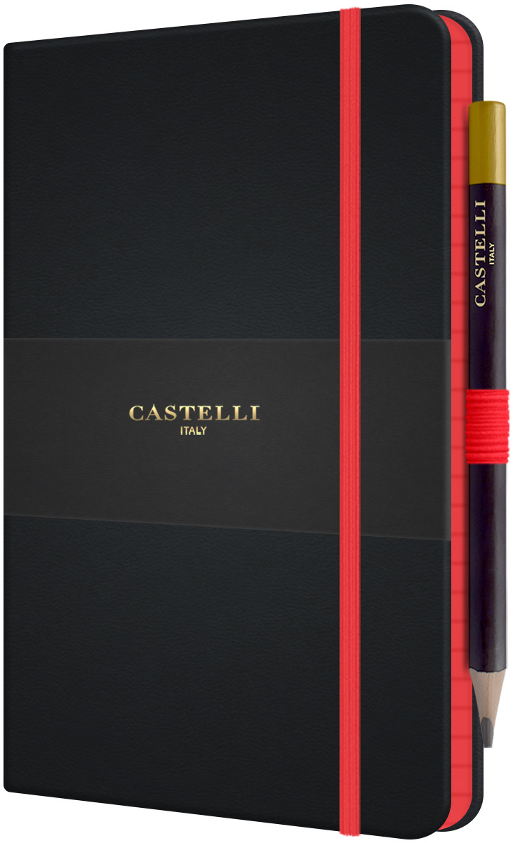 Castelli Tucson Edge Hardback Medium Notebook - Ruled - Red