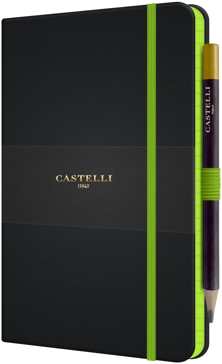 Castelli Tucson Edge Hardback Medium Notebook - Ruled - Green
