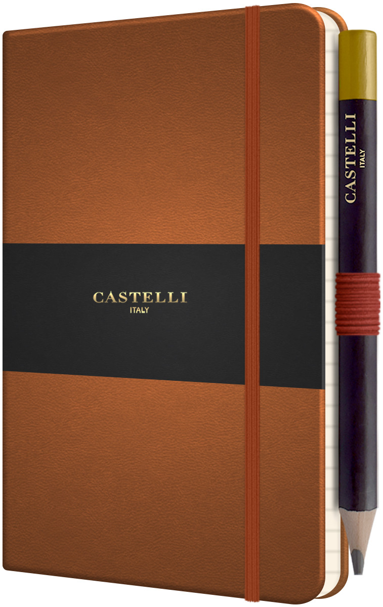 Castelli Tucson Hardback Pocket Notebook - Ruled - Chestnut