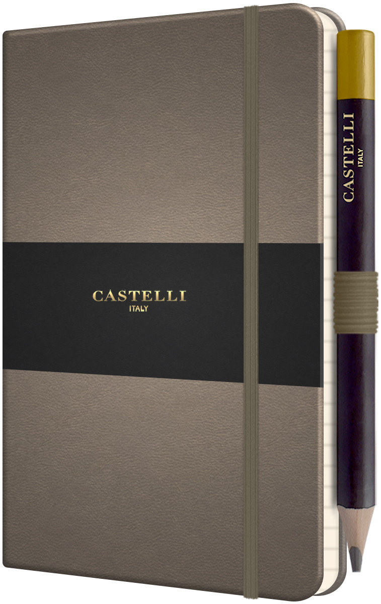 Castelli Tucson Hardback Pocket Notebook - Ruled - Taupe