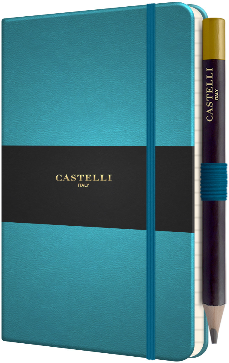 Castelli Tucson Hardback Pocket Notebook - Ruled - Blue Curacao