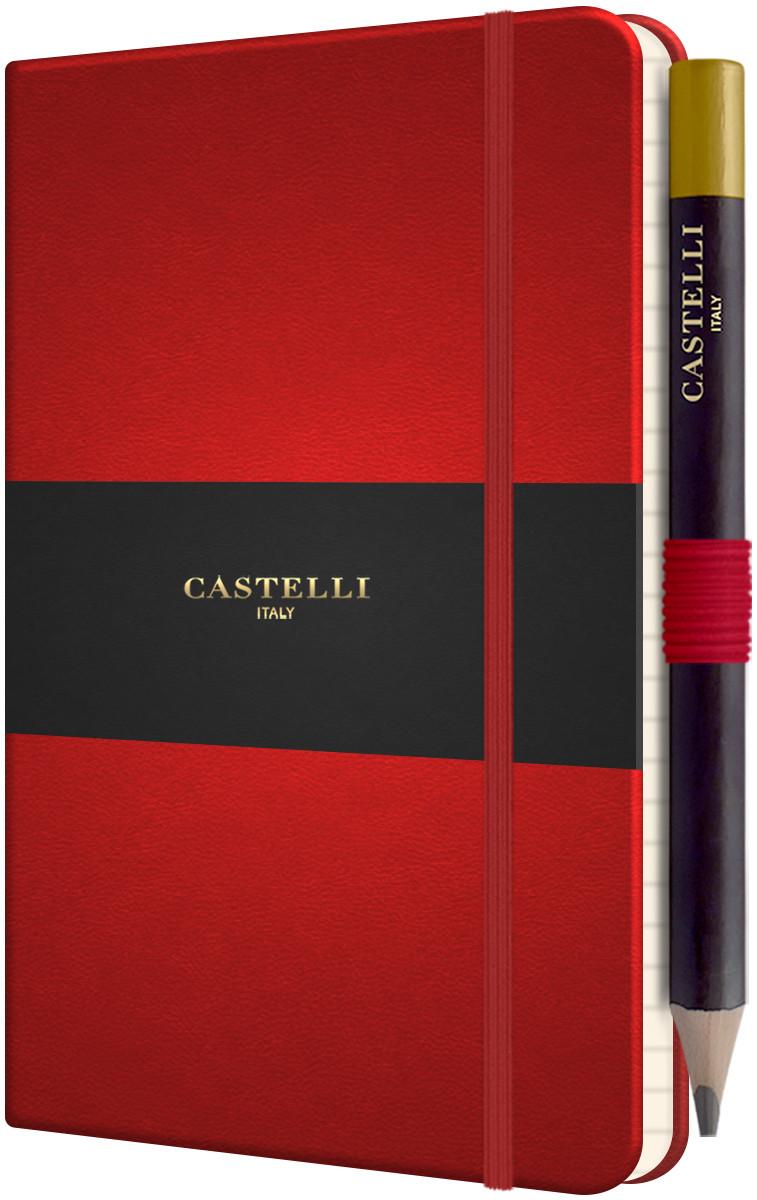 Castelli Tucson Hardback Pocket Notebook - Ruled - Coral Red