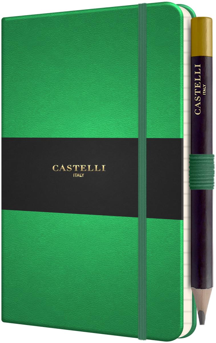 Castelli Tucson Hardback Pocket Notebook - Ruled - Forest Green