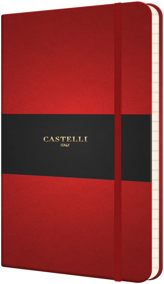 Castelli Flexible Pocket Notebook - Ruled - Coral Red