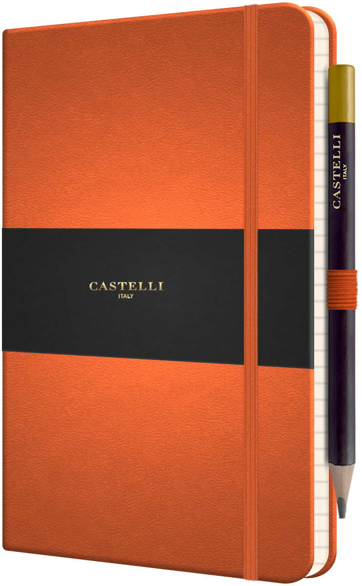 Castelli Tuscon Hardback Medium Notebook - Ruled - Orange