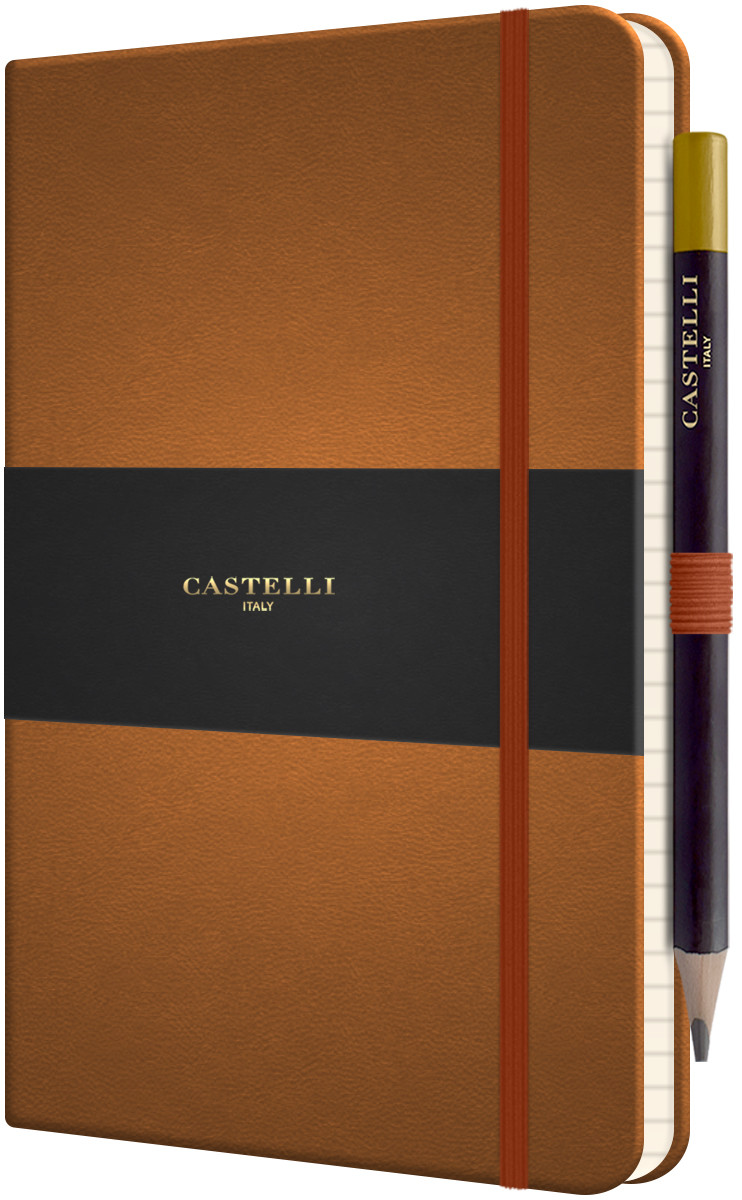 Castelli Tucson Hardback Medium Notebook - Ruled - Chestnut