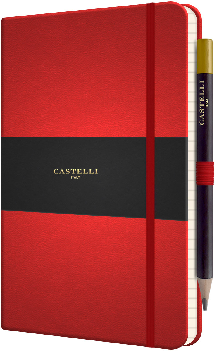 Castelli Tucson Hardback Medium Notebook - Ruled - Coral Red