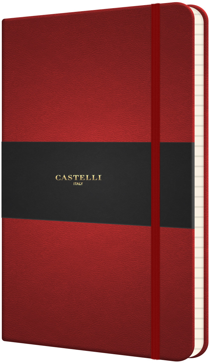 Castelli Flexible Medium Notebook - Ruled - Red