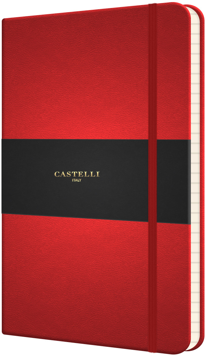 Castelli Flexible Medium Notebook - Ruled - Coral Red