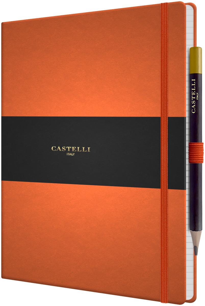 Castelli Tucson Hardback Large Notebook - Ruled - Orange