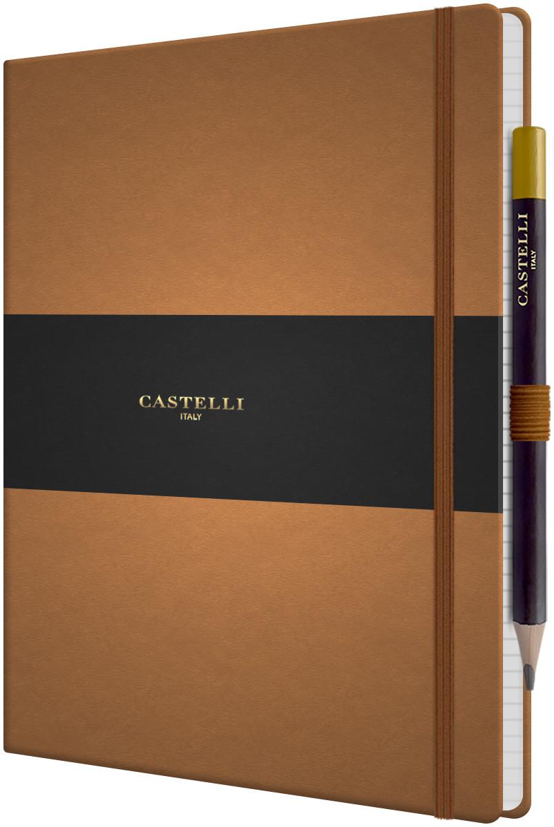 Castelli Tucson Hardback Large Notebook - Ruled - Chestnut