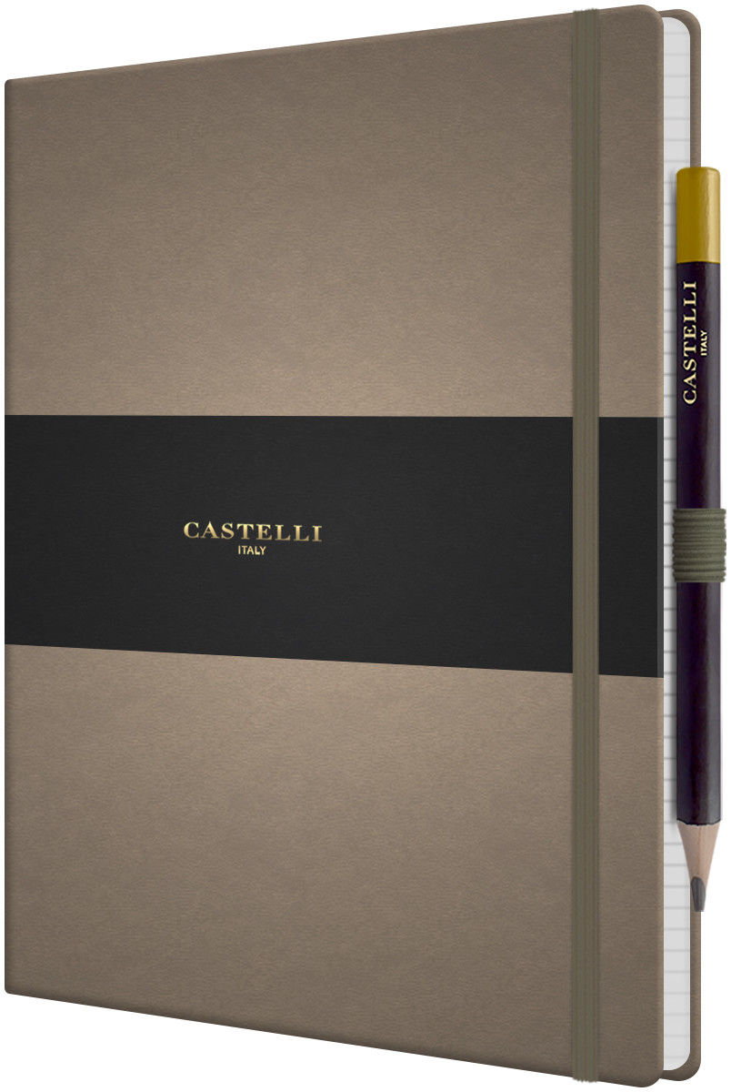 Castelli Tucson Hardback Large Notebook - Ruled - Taupe