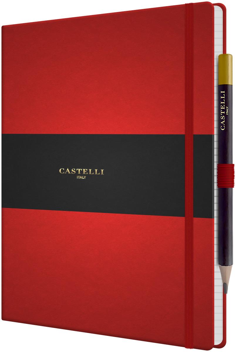 Castelli Tucson Hardback Large Notebook - Ruled - Coral Red