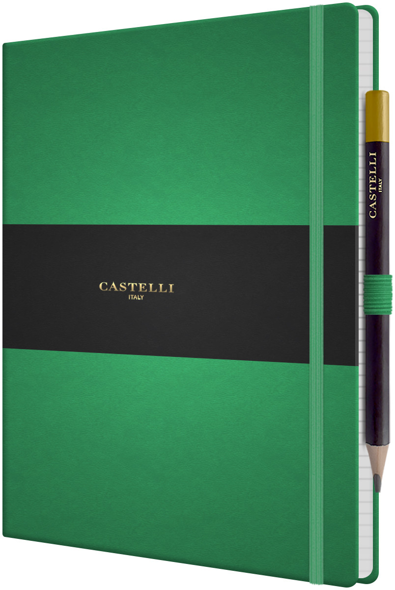 Castelli Tucson Hardback Large Notebook - Ruled - Forest Green