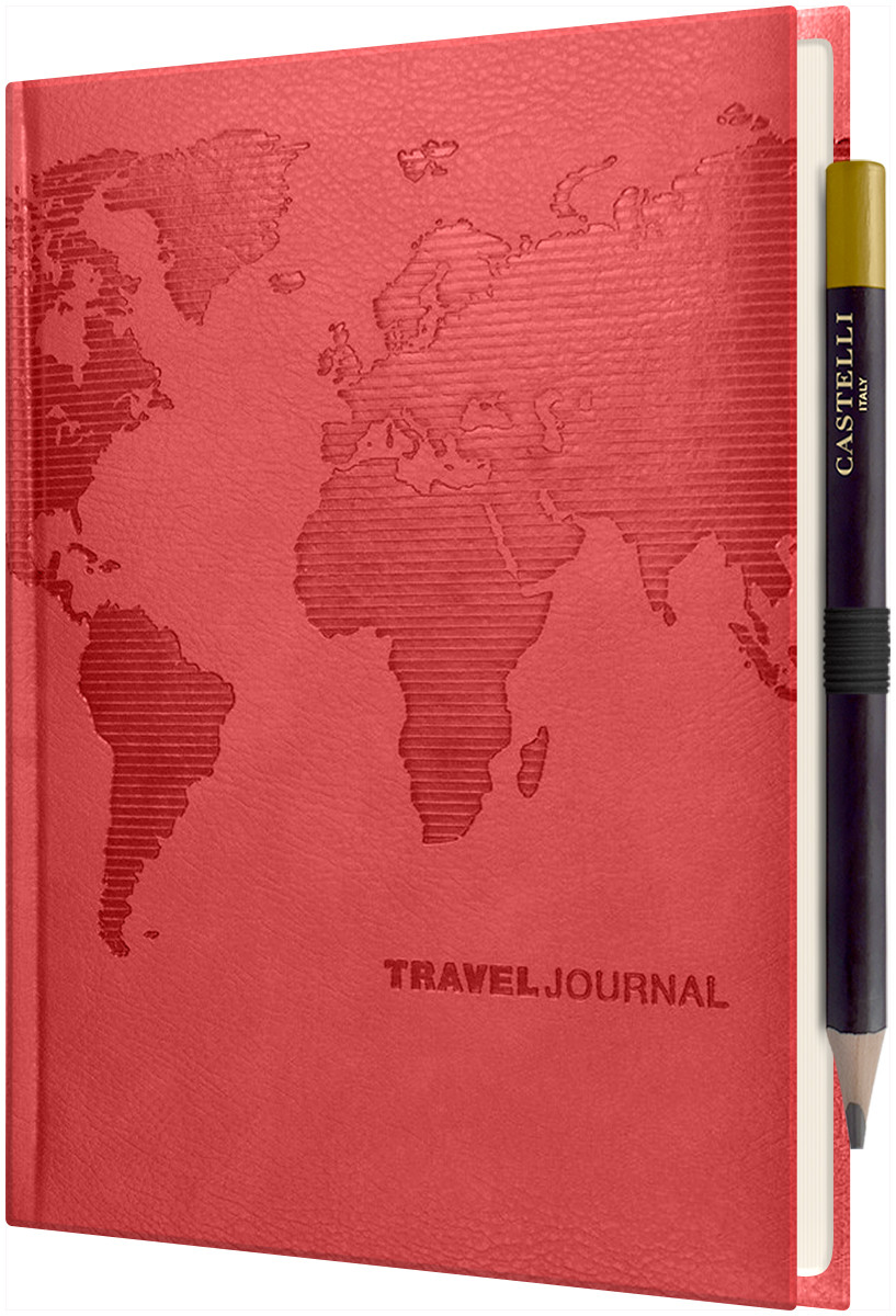 Castelli World Travel Journal - Ruled - Pearl Red