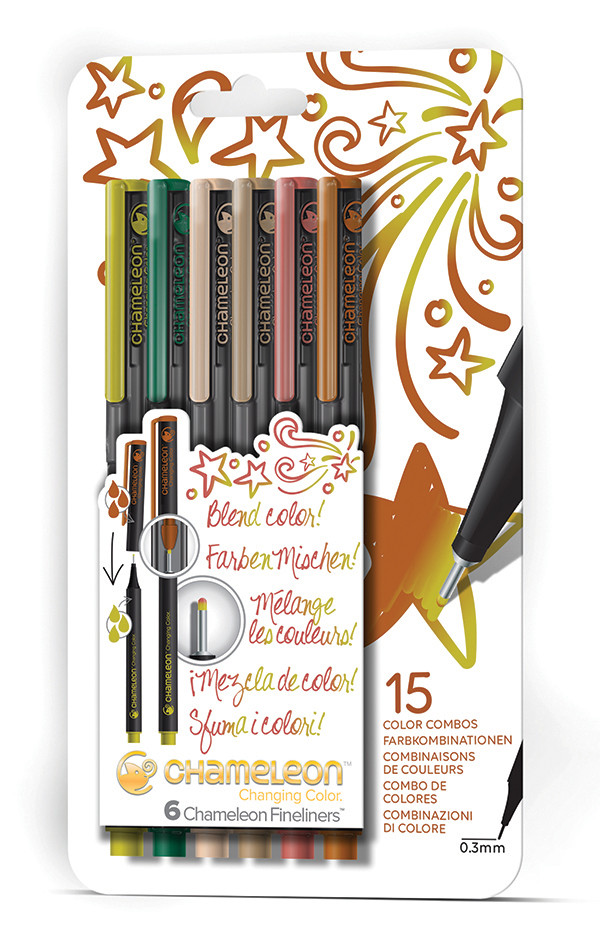 Chameleon Fineliner Pens - Nature Colours (Pack of 6)