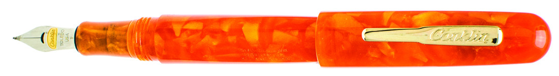 Conklin All American Fountain Pen - Sunburst Orange Gold Trim