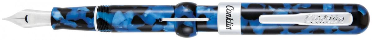 Conklin Mark Twain Crescent Filler Fountain Pen - Vintage Blue Chrome Trim