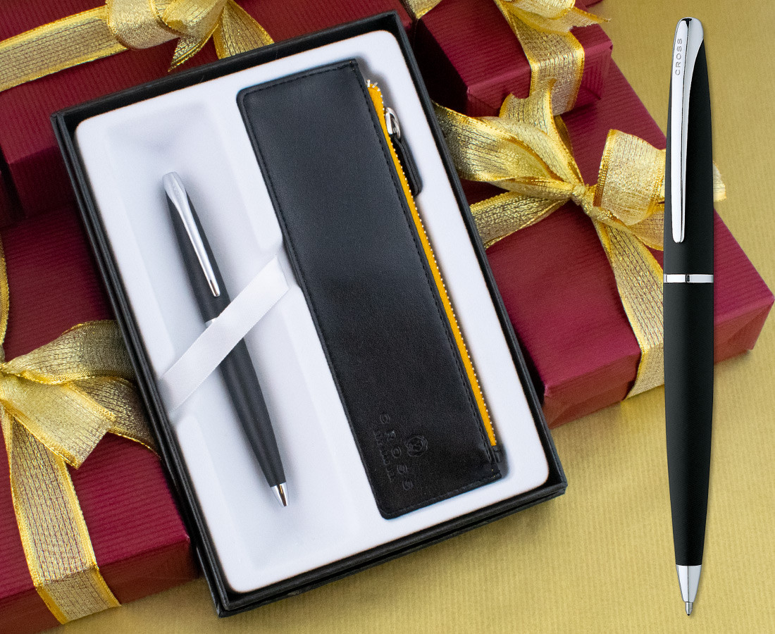 Cross ATX Ballpoint Pen - Basalt Black in Luxury Gift Box with Free Black Zip Pouch