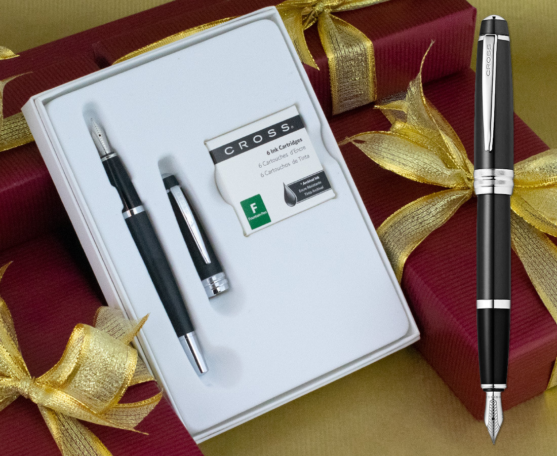 Cross Bailey Fountain Pen - Matte Black Chrome Trim in Special gift Box with Free Ink Cartridges