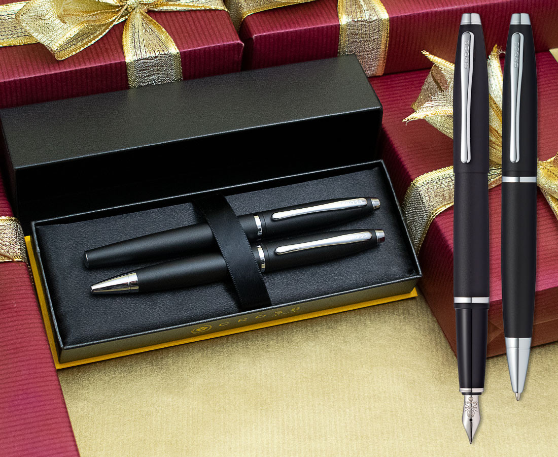 Cross Calais Fountain & Ballpoint Pen Set - Matte Black Chrome Trim