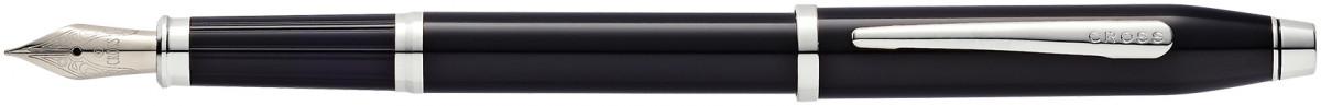 Cross Century II Fountain Pen - Black Lacquer Rhodium Trim
