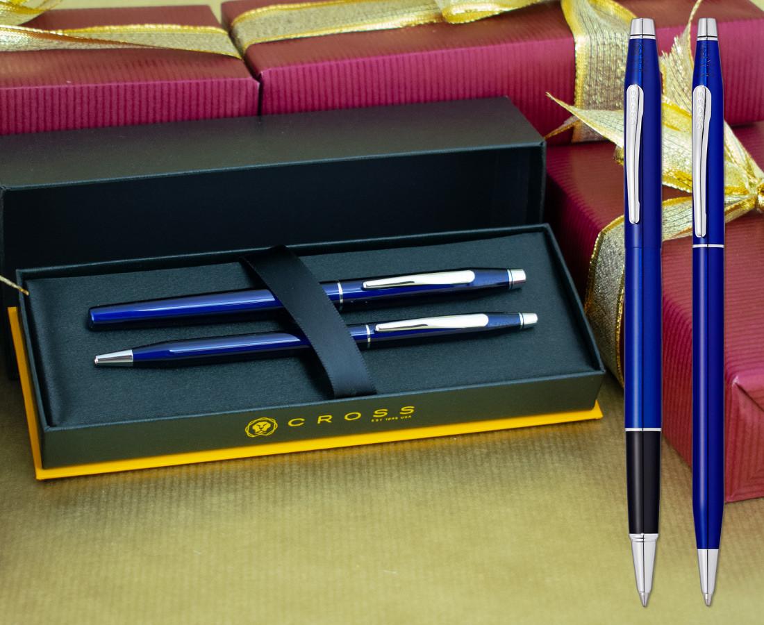 Cross Classic Century Rollerball & Ballpoint Pen Set - Translucent Blue Chrome Trim
