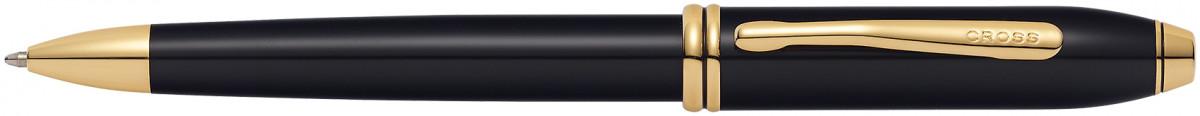 Cross Townsend Ballpoint Pen - Black Lacquer Gold Trim