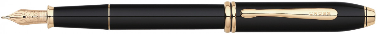 Cross Townsend Fountain Pen - Black Lacquer Gold Trim