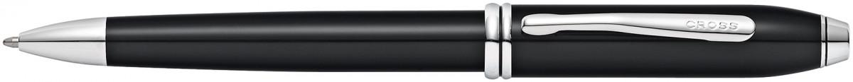Cross Townsend Ballpoint Pen - Black Lacquer Rhodium Trim