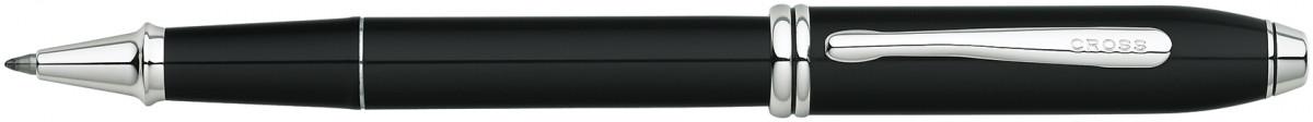 Cross Townsend Rollerball Pen - Black Lacquer Rhodium Trim