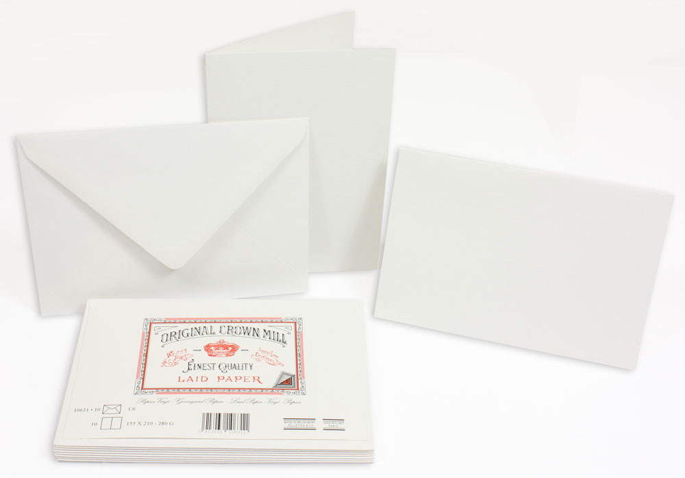 Crown Mill Classics C6 Set of 10 Folded Cards and Envelopes - White