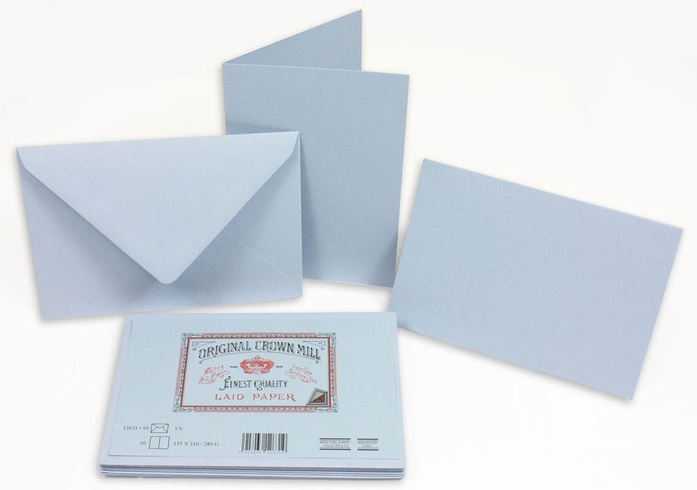 Crown Mill Classics C6 Set of 10 Folded Cards and Envelopes - Blue