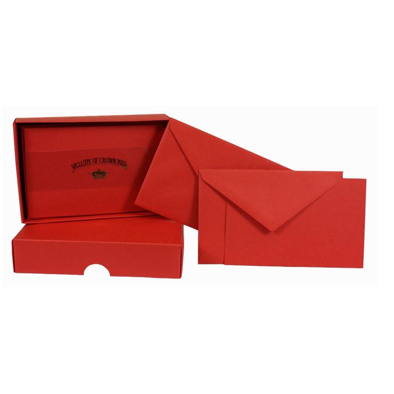 Crown Mill Colour Line Set of 25 Cards and Envelopes - Vermilion