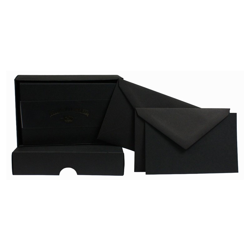 Crown Mill Colour Line Set of 25 Cards and Envelopes - Black