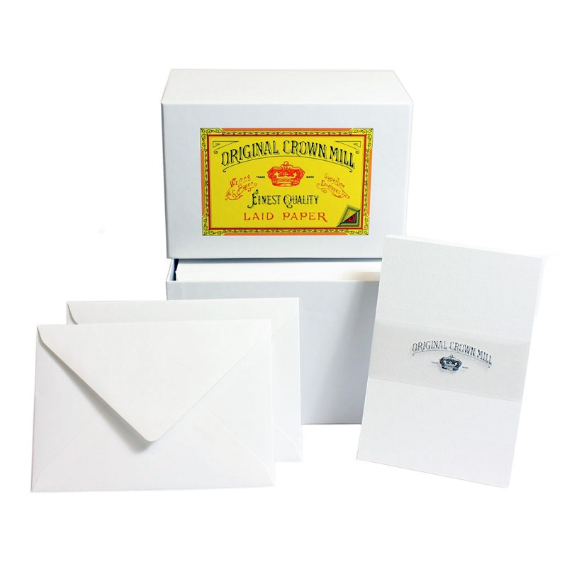 Crown Mill Luxury Box C6 Set of 50 Cards and Envelopes - White